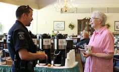 "Our residents enjoying our monthly ""coffee with a cop"" event!"