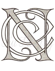 SVG Monogram CN, NC Digital Letters, Initials Letters Clipart, Antique Lettering, Printable Victorian Initials by TuiTrading, $4.25 USD