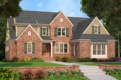 Tanglewood House Plan - Stately brick and clapboard siding combine to create a clean traditional design. Cottage Style House Plans, Craftsman Style House Plans, Cottage House, Traditional House Plans, Traditional Exterior, Traditional Design, Clapboard Siding, Farmhouse Design, Farmhouse Style