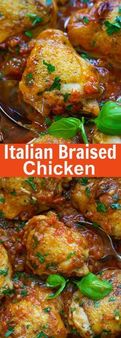 Italian Braised Chicken - delicious one-pot braised chicken recipe with tomato and basil sauce. Amazing weeknight meal for the family | rasamalaysia.com