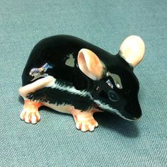 Miniature Ceramic Rat Field Mouse Mice Animal Cute Small Tiny Black Pink Figurine Statue Decoration Collectible Hand Painted Figure Decor