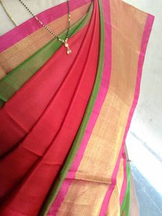 Uppada Pink with Green Color Silk Saree with Gold color border