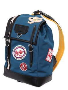 bally - men - backpacks - canvas backpack w/ patches