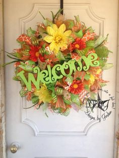Welcome Spring Deco Mesh Wreath Summer by DesignsbyJordanTX, $125.00