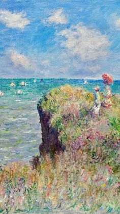 Claude Monet: The Cliff Walk at Pourville DetailYou can find Monet and more on our website.Claude Monet: The Cliff Walk at Pourville Detail Monet Wallpaper, Painting Wallpaper, Painting Art, Painting Lessons, Monet Paintings, Famous Impressionist Paintings, French Impressionist Painters, Paintings Famous, Indian Paintings