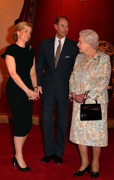 watchingwindsor:  Queen Elizabeth and the Earl and Countess of Wessex at a reception held on behalf of the Wessex's patronages, Buckingham Palace, February 10, 2015