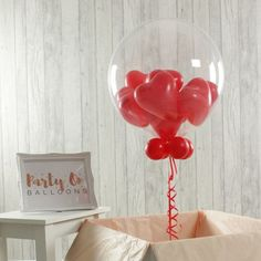 Personalised Red Heart Balloon-Filled Bubble Balloon Or how about mini love hearts inside a clear shell? Balloon Inside Balloon, Small Balloons, Clear Balloons, Yellow Balloons, Bubble Balloons, Love Balloon, Balloon Gift, Printed Balloons, Bubbles