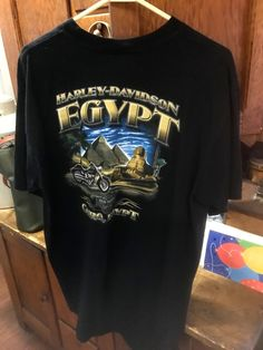 Hard to Find Cairo Egypt Harley Davidson Large  to X-Large T-Shirt with Eagle On Front