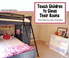 How to Teach Children to Clean Their Rooms {OneCreativeMommy.com} Tired of nagging kids to clean their rooms? Your kids might be overwhelmed and not know where to start. (Free Printable Reminder Cards) #kidschores