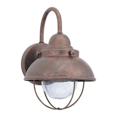 """Sea Gull Lighting 887091S Sebring LED 8"""" Wide Outdoor Wall Sconce Weathered Copper Outdoor Lighting Wall Sconces"""