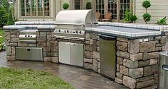 outdoor kitchen stone tile countertop