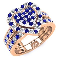 Share for $20 off your purchase of $100 or more! 1.10 Carat (Ctw) 14K Rose Gold Round Cut Blue Sapphire & White Diamond Ladies Heart Shaped Bridal Engagement Ring With Matching Band Set 1 CT - Dazzling Rock #https://www.pinterest.com/dazzlingrock/