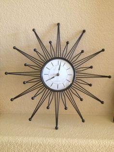 Sterling & Noble Black Retro Atomic Starburst / Starburst Wall Clock Works Great Wall Clocks, Mid Century, Retro, Ebay, Furniture, Vintage, Black, Chiming Wall Clocks, Black People