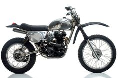 Clay Rathburn secured his reputation by building minimalist bobbers, but a smoldering childhood fascination with dirt bikes eventually led Triumph Motorcycles, Vintage Motorcycles, Custom Motorcycles, Custom Bikes, British Motorcycles, Bmw Scrambler, Scrambler Motorcycle, Motorcycle Art, Motorcycle Girls