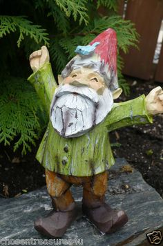 This listing includes one 9 inch woodland gnome. Made from poly resin, molded and painted. Especially designed for the gnome collector. Quality is excellent and condition is new. Suitable indoors or out. If placing outdoors, we suggest a coating of protectant spray to protect from sun`s rays.