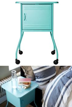 The girls would love this as their nightstand. VETTRE nightstand - place for a charging station inside with an opening to run the cords through the bottom - and the turquoise color puts the fun in function! Basement Bedrooms, Home Bedroom, Bedroom Decor, Basement Ideas, Bedroom Ideas, Kitchenette, Bedside Table Ikea, Console Table, Blue Nightstands