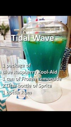 Tital Wave Punch Blue Raspberry Kool-Aid 1 Can Frozen Lemonade 2 Liter bottle of Sprite. Minus the alcohol Liquor Drinks, Cocktail Drinks, Bacardi Drinks, Blue Alcoholic Drinks, Summer Alcoholic Punch, Alcoholic Drinks Recipes With Vodka, Pool Drinks, Alcholic Drinks, Alcoholic Desserts