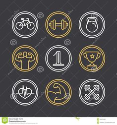 Vector crossfit logos and emblems - linear icons and design elements for sport industry and gyms.