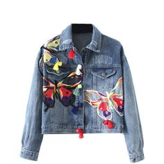 Blue Light Wash Butterfly Patches Long Sleeve Denim Jacket (175 RON) ❤ liked on Polyvore featuring outerwear, jackets, coats, denim jacket, jean jacket, long sleeve jean jacket, butterfly jacket, patch jean jacket and cotton jacket
