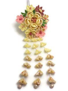 Multicolored Flower Kanzashi Hair Stick/ Japanese by HandcraftKu