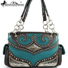 $39.99Amazon.com: Montana West Cow Girl Rhinestone Studded Handbag in Turquoise Western Shoulder Purse: Clothing
