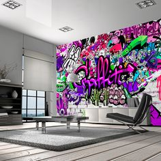 Photo Wallpaper Wall Art Non-woven Graffiti Art Modern Design Wall Stickers Graffiti Art, Graffiti Designs, Music Graffiti, Wallpaper Wall, Graffiti Wallpaper, Photo Wallpaper, Wall Decals For Bedroom, Wall Decor Stickers, Bedroom Art