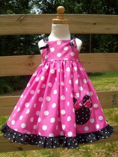 Hot Pink Polka Dot Minnie or Mickey  Mouse by mudpiesndragonflies, $46.00