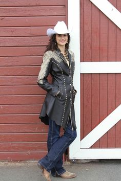 Long leather horsemanship interview jacket