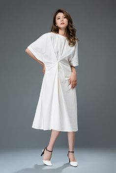 White Cotton Dress  Mid-Length Relaxed-Fit Short-Sleeved Plus
