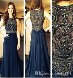 Wholesale Dark Blue Evening Dresses - Buy Robe De Soiree Evening Dresses 2014 New Sleeveless Scoop Neck Dark Blue Chiffon Crystals Long Prom Dresses Formal Evening Gowns BO5235, $124.61 | DHgate