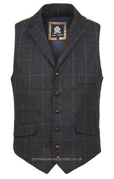 Traditional Waistcoats : Informal Waistcoats & Gentleman's Waistcoats : Blue Tweed Waistcoat by Guide of London