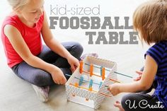 My husband and I, along with our 11 year old son, love to play foosball.  We will play until our hands hurt.  My little girls want to play so bad, so we let them drop the ball on the table.  That only satisfies them for a little while.  They REALLY want to …
