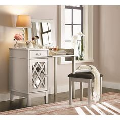 Features: -Flip top features a mirror and open storage area. -Large open storage space hidden behind a mirrored door. Product Type: -Vanity set. Style (Old): -Glam/Contemporary. Finish: -Silver.