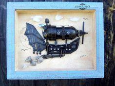 Панно в стиле #steampunk  #картина#арт#эскиз#фотография#понна#корабль#небо#ассамбляж