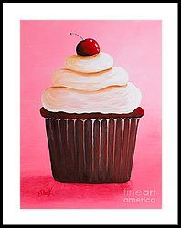 Красный бархат Cupcake By Shawna Erback печати по Shawna Erback Cupcake Painting, Cupcake Art, Paint Cake, Cupcake Clipart, Cupcake Crafts, Cupcake Drawing, Cupcake Recipes, Red Velvet Cupcakes, Pink Cupcakes