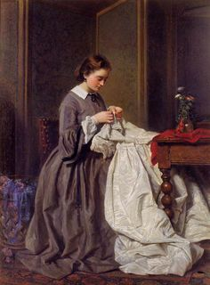 *The Athenaeum - The Seamstress by Charles Baugniet, 1858 - scissors hanging from her waist