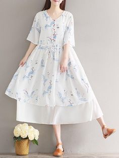 Buy Vintage Floral Print Loose Layered Half Sleeve V-neck Women Dress  online with cheap 632c9822b