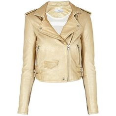 IRO Dune Jacket (29 490 UAH) ❤ liked on Polyvore featuring outerwear, jackets, coats, coats & jackets, gold, gold jacket, cropped jacket, beige biker jacket, biker jacket and gold cropped jacket