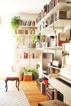 Living room bookshelves and piano IMG_7577