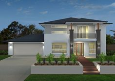 Explore over 60 single and double storey house plans. Each home design allows you to view facade options, minimum lot width, personalise your floorplan… Unique House Design, Home Design, House Paint Exterior, Exterior House Colors, Double Storey House Plans, Small Villa, House Construction Plan, Storey Homes, Dream House Plans
