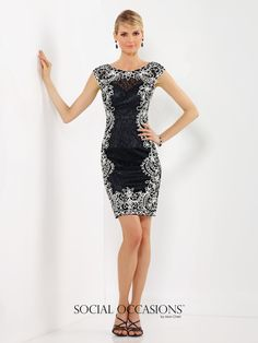 Social Occasions by Mon Cheri - 116843 - Lace and ribbon work sheath in Black/Ivory or Water/Ivory