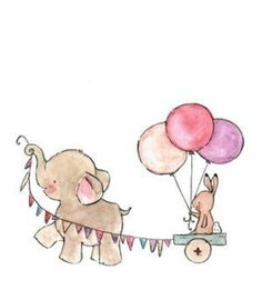 First Birthday elephant and bunny balloon wagon Watercolor Cards, Watercolor Illustration, Baby Animal Drawings, Cute Cartoon Wallpapers, Baby Art, Drawing For Kids, Easy Drawings, Nursery Art, Cute Art