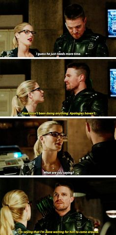 """I'm done waiting for him to come around"" - Oliver and Felicity #Arrow 