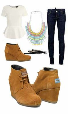 Chestnut Toms Suede Desert Wedges Women's Shoes. I waaaannnnt those shoes so badly!! Cuute outfit