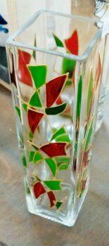 Peinture sur verre. Vase soliflore. Opale Isis, Christine Monsion