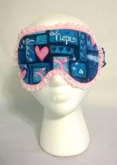 Breast Cancer Awareness Sleep Mask, spa mask, eye sleep mask, travel mask, beauty sleep, cotton, foldover elastic, fleece, flannel butterfly by KrissysCraftyKitsch on Etsy