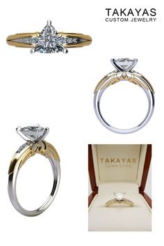 14K white gold Zelda trillion solitaire engagement ring with 14K yellow gold and diamond accents