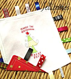 Baby's first christmas taggy taggie blanket from Jellibabies personalised baby and children's clothes and accessories Devon