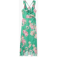 MANGO Floral-print flowy dress (970 MAD) ❤ liked on Polyvore featuring dresses, spaghetti strap dress, floral ruffle dress, flower print dress, green lace dress and floral lace dress