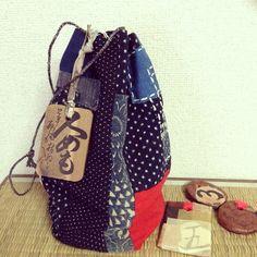 "Japanese boro rice bag,""Kome-bukuro""/Indigo/Dyed/Ikat/Sashiko,with Board Karuta"
